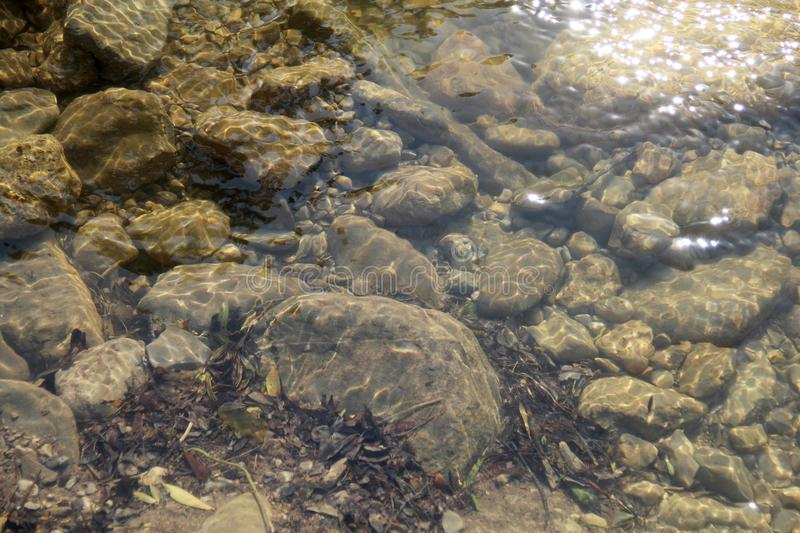 Stones under water of a mountain stream royalty free stock image