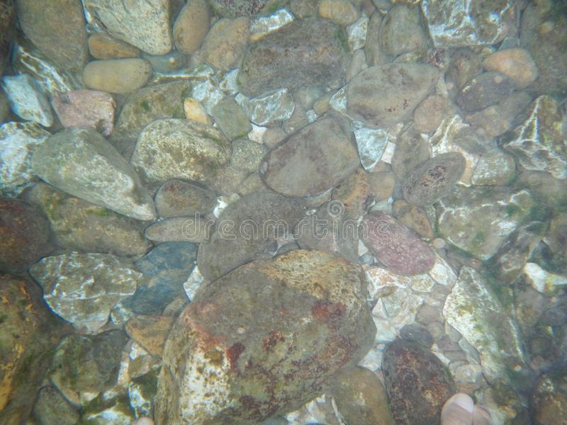 Stones under water on a river stock image