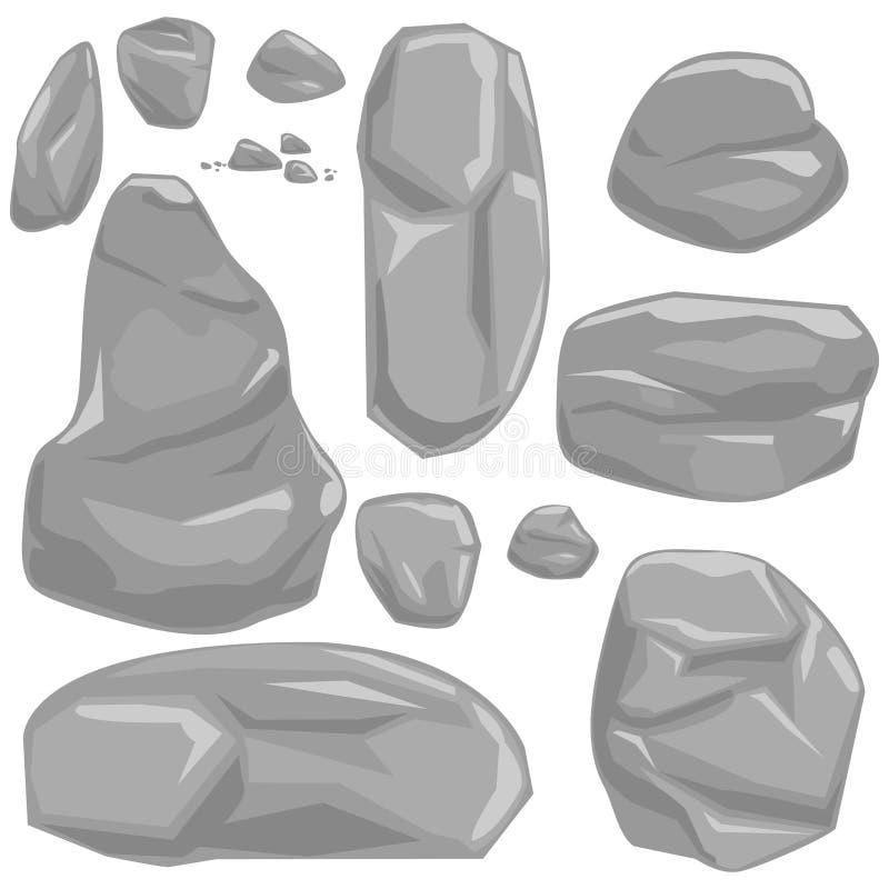 Stones And Rocks Cartoon Vector Boulders Set Stock Vector