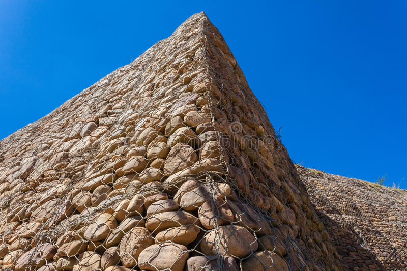 Stones Wall Wire Corner stock photography