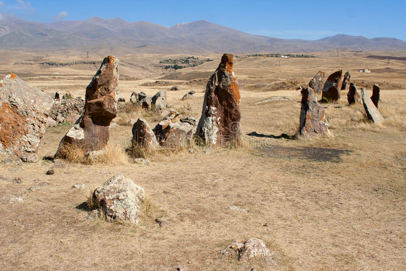 Stones in Zorats Karer. Prehistory megalith. Armenia stock photos