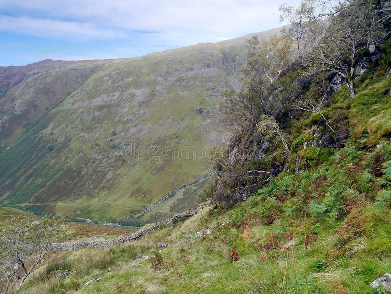 Stonethwaitevallei hieronder, van Eagle Crag stock fotografie