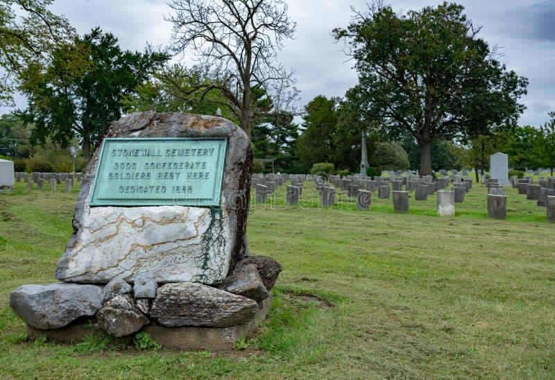 Stonewall kyrkogård i Mt Hebron i Winchester VA arkivbild
