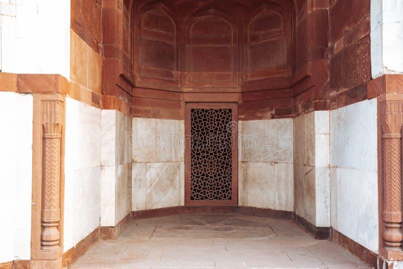 Stonewerkarchitectuur van muren en deuropeningen van Humayan's Tomb in New Delhi India royalty-vrije stock foto's