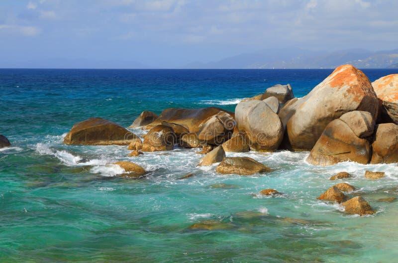 Stoney海湾海滩,维尔京Gorda,英属维尔京群岛 免版税库存照片