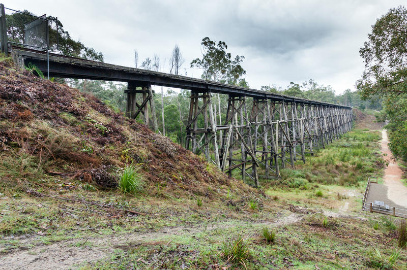 Stoney creek bridge near Nowa Nowa. The Bridge represents an outstanding example of timber trestle construction, exhibiting a high degree of integrity and royalty free stock image