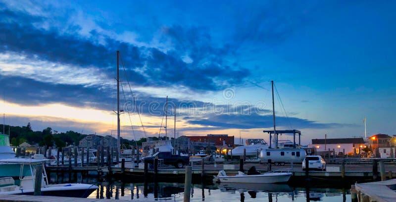 Stonington-Hafen-Connecticut-Sonnenuntergang lizenzfreies stockfoto