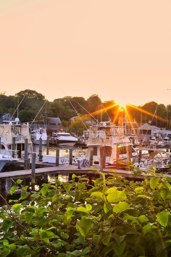 Stonington schronienia Connecticut zmierzch obraz royalty free