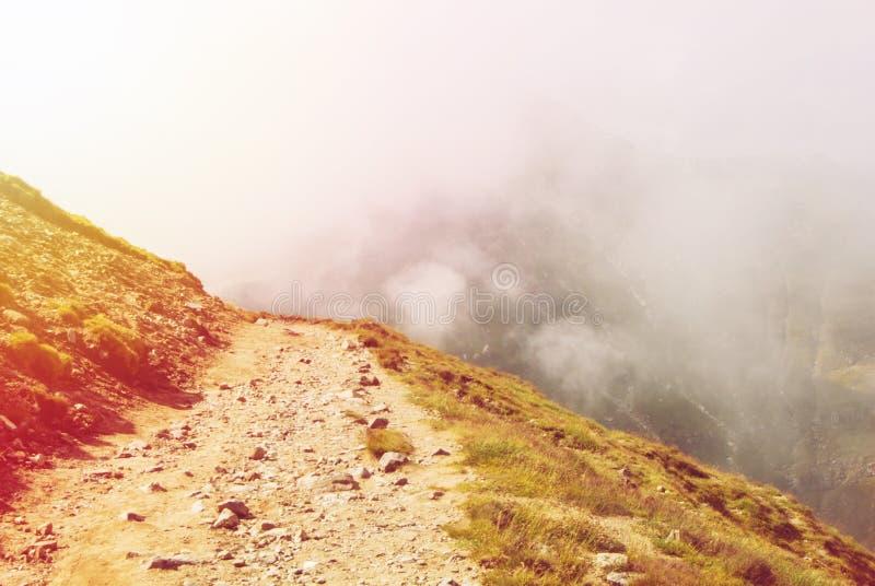 Stonowana wężowata ścieżka iść w dół w Carpatian górach i obraz royalty free