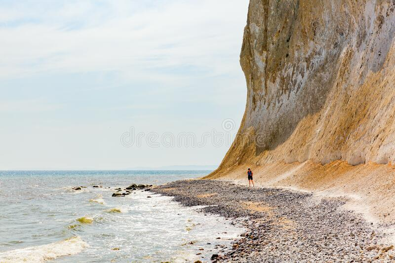 Stony beach at the chalk cliffs of Ruegen, Germany stock photo