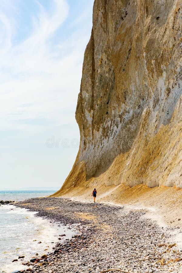 Stony beach at the chalk cliffs of Ruegen, Germany royalty free stock photo