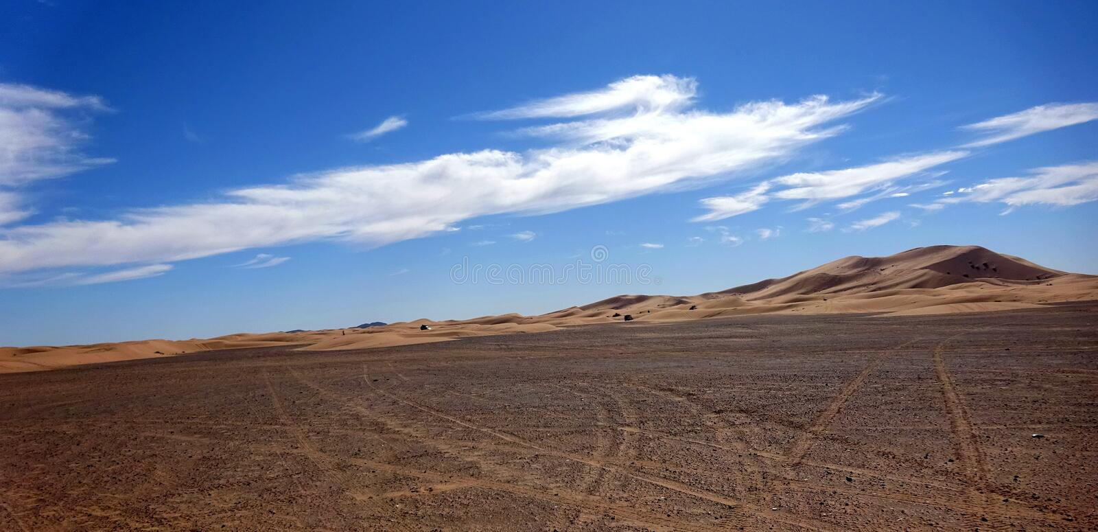 Stony desert Sahara. The Sahara is the largest hot desert and the third largest desert in the world after Antarctica and the Arctic. Its area of 9,200,000 square stock photography