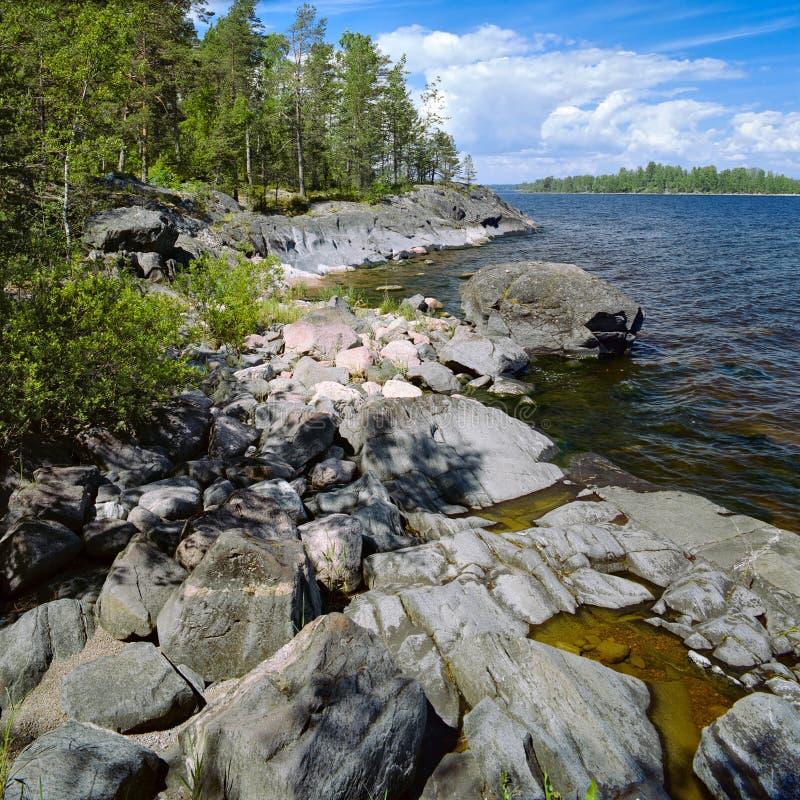 Stony Shore Of Ladoga Lake, Russia Stock Photo - Image of ...