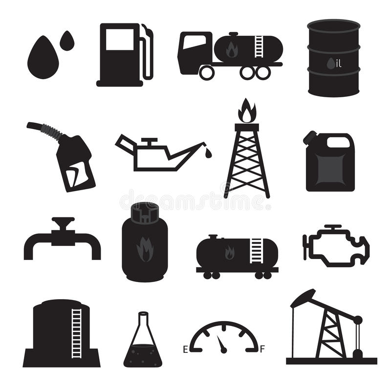 Stookolie en Gas Geplaatste Pictogrammen stock illustratie