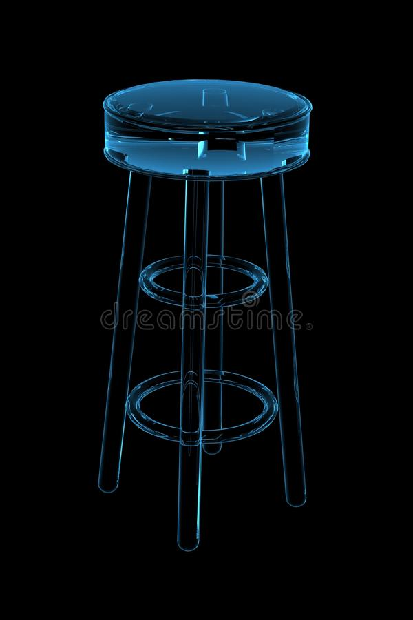 Download Stool 3D Rendered Xray Blue Stock Illustration - Image: 14261094