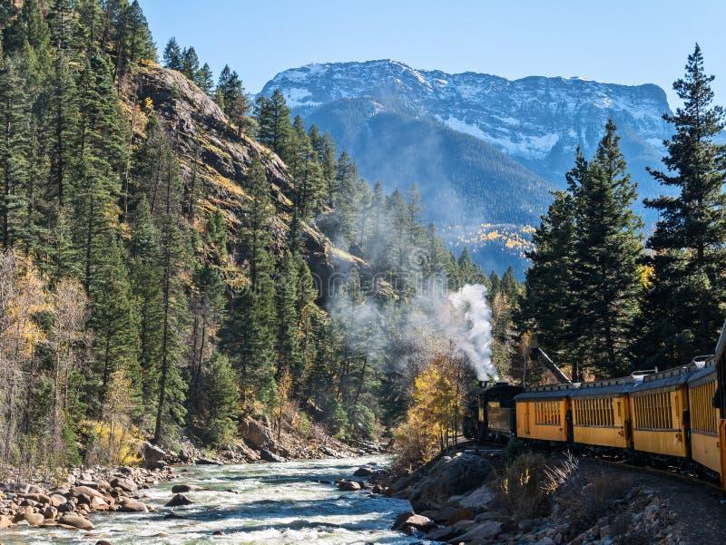 Stoom aangedreven Durango aan Silverton-Spoorweg stock afbeelding