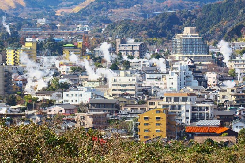 Stoom het toenemen van Beppu-Stad in Beppu, ÅŒita, Japan stock afbeelding