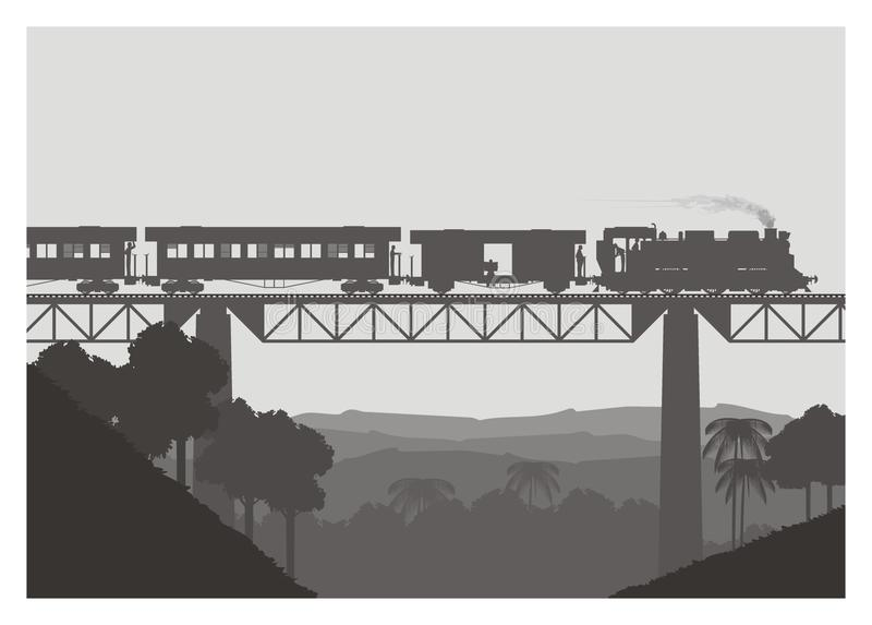 Stoom voortbewegings vervoerende vracht en personenauto vector illustratie