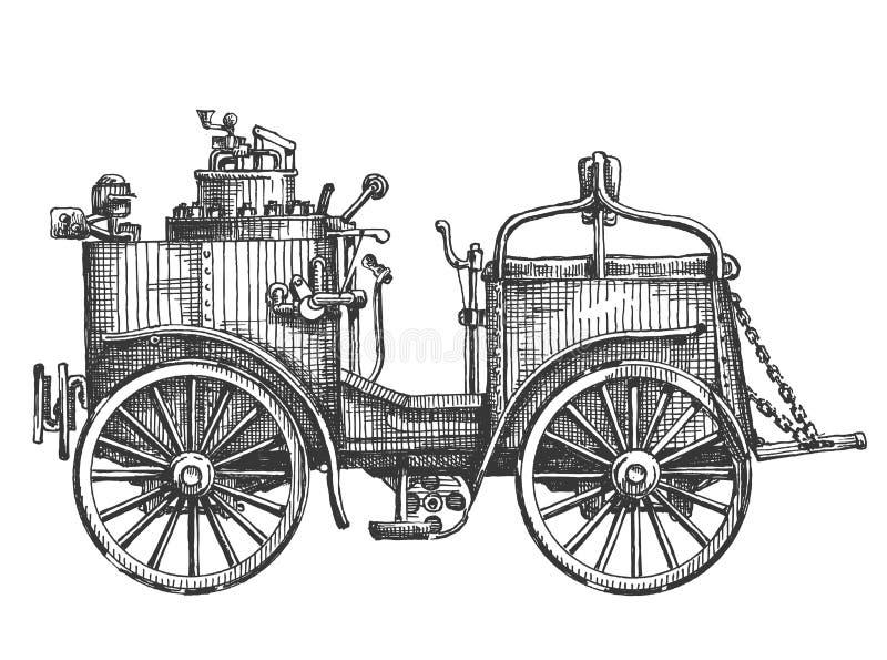 Stoomauto op een witte achtergrond schets royalty-vrije illustratie