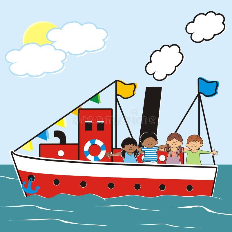 Stoomboot en kinderen vector illustratie