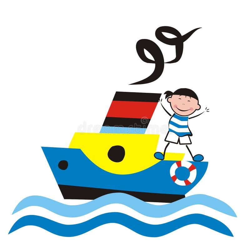 Stoomboot en zeeman royalty-vrije illustratie