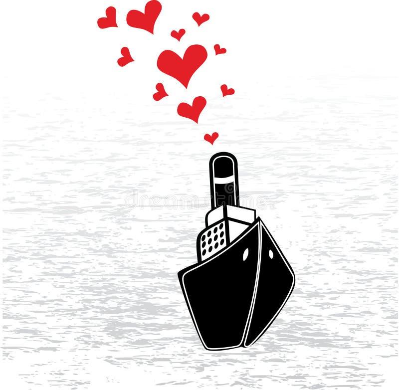 Stoomschip en harten royalty-vrije illustratie