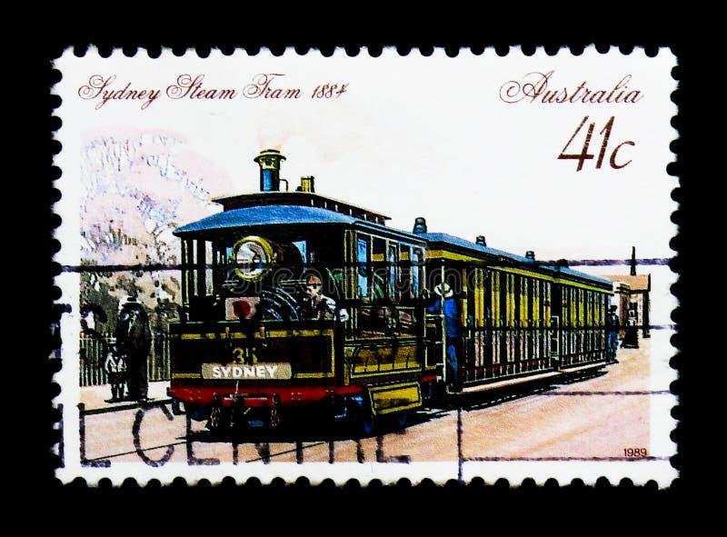 Stoomtram, Sydney, 1884, Historische Trams serie, circa 1989 stock fotografie