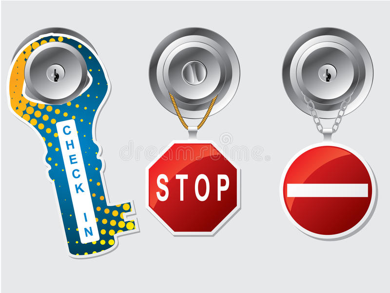 Stoor geen etiketten met kabel en kettingen royalty-vrije illustratie