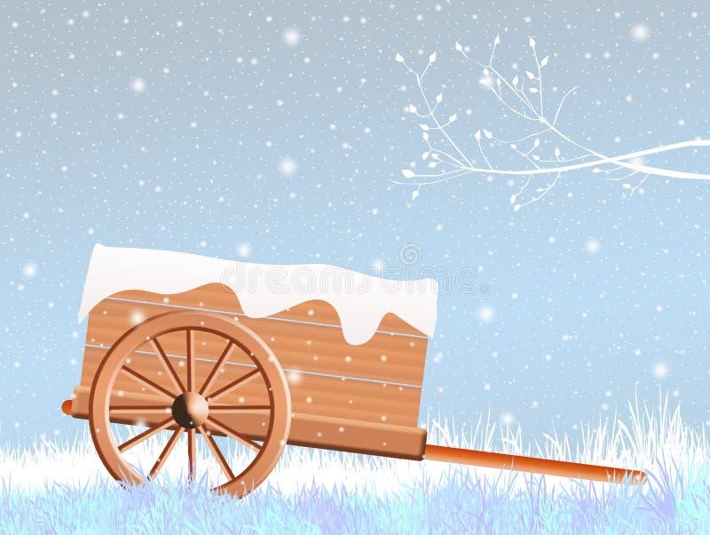 Stootkar in de winter vector illustratie