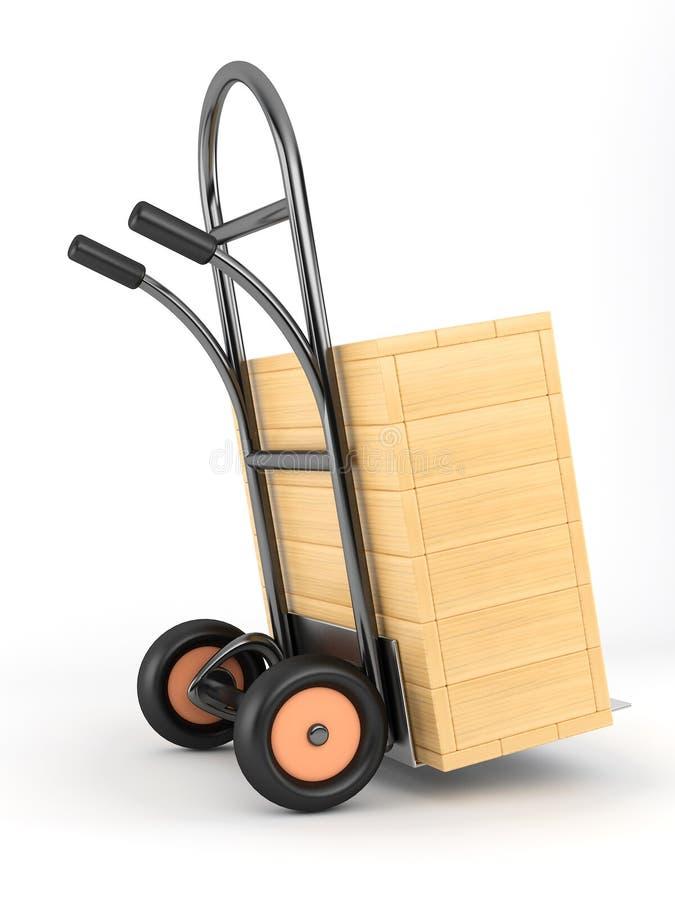 Stootkar en doos stock illustratie