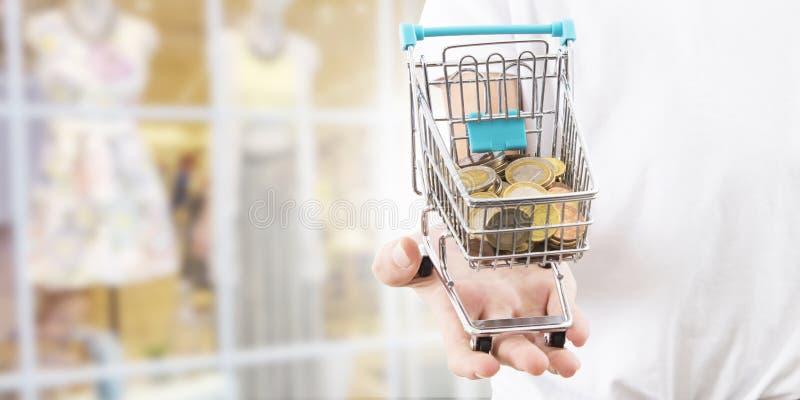 Stootkar het winkelen en geld royalty-vrije stock afbeeldingen