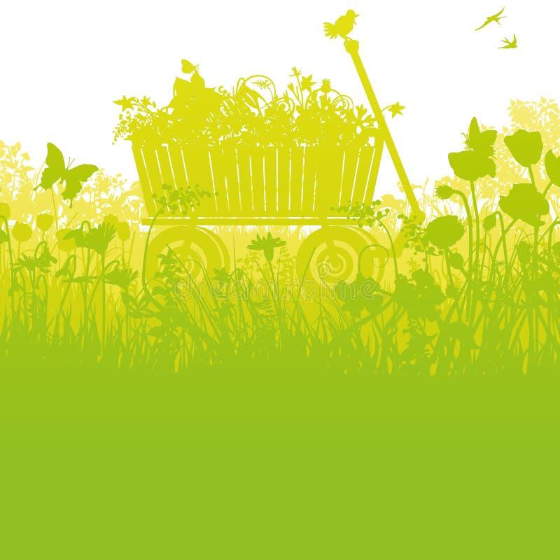 Stootkar in hoog dicht gras stock illustratie