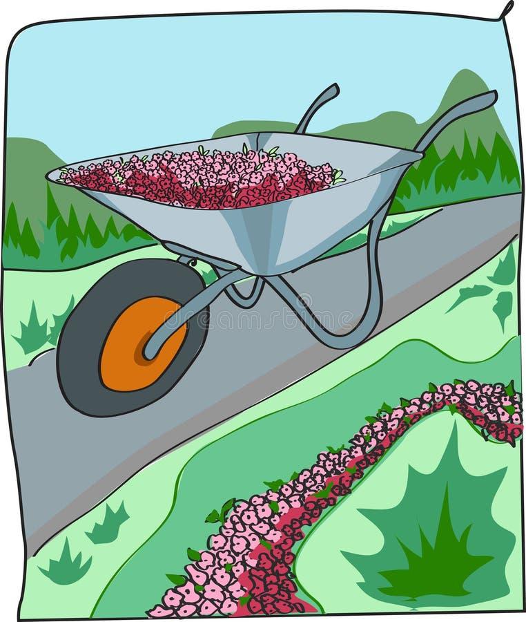 Stootkar met bloemen stock illustratie