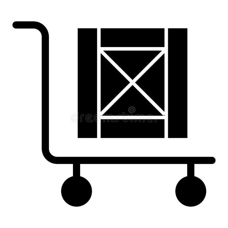 Stootkar met doos stevig pictogram Lading op kar vectordieillustratie op wit wordt geïsoleerd Stootkar met houten doos glyph stij royalty-vrije illustratie