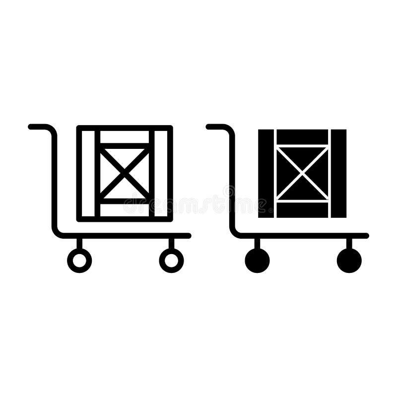 Stootkar met dooslijn en glyph pictogram Lading op kar vectordieillustratie op wit wordt geïsoleerd Stootkar met houten doos vector illustratie