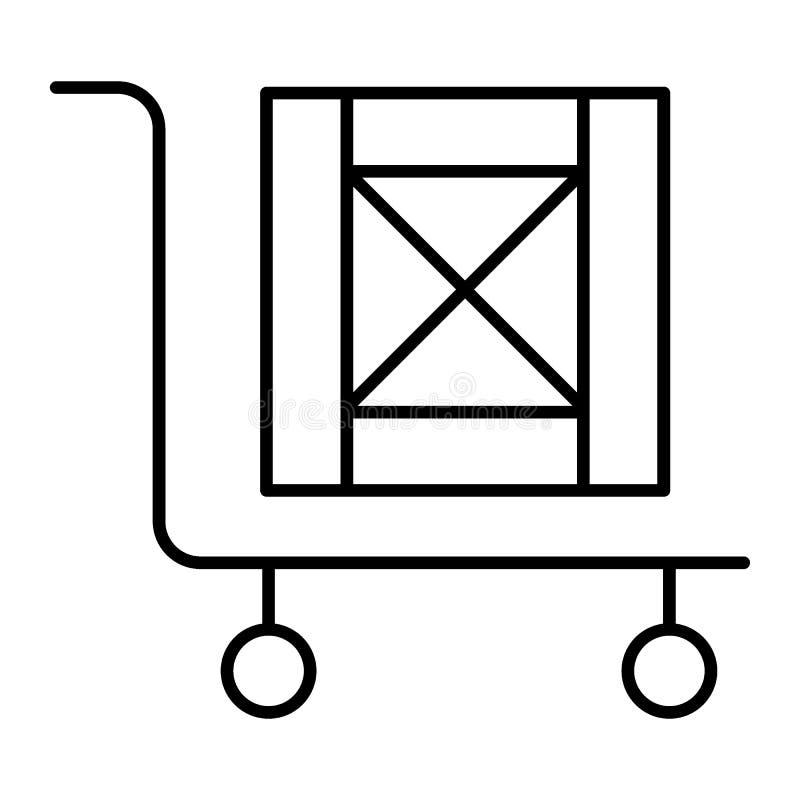 Stootkar met pictogram van de doos het dunne lijn Lading op kar vectordieillustratie op wit wordt geïsoleerd Stootkar met houten  vector illustratie