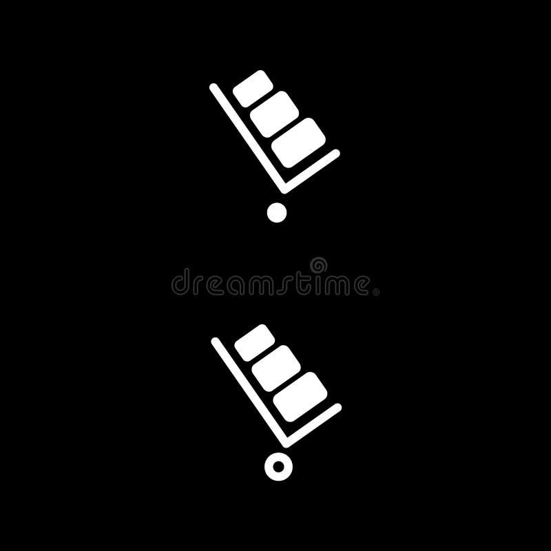 Stootkar vectorpictogram Stootkar op zwarte achtergrond E vector illustratie