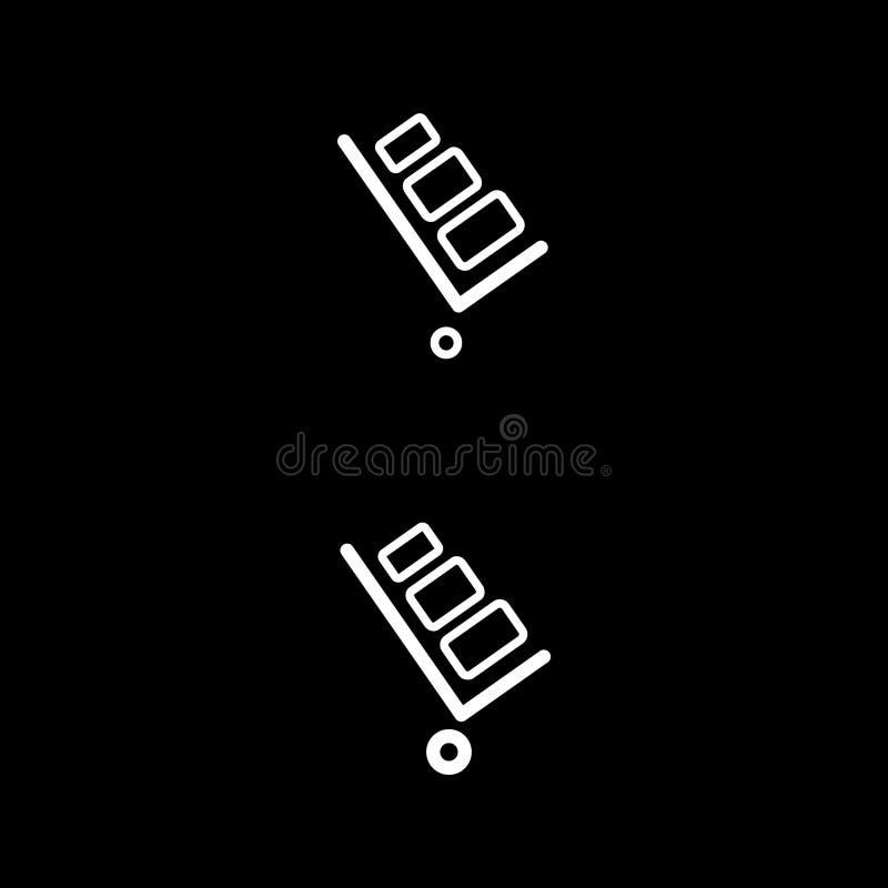 Stootkar vectorpictogram Stootkar op zwarte achtergrond E royalty-vrije illustratie