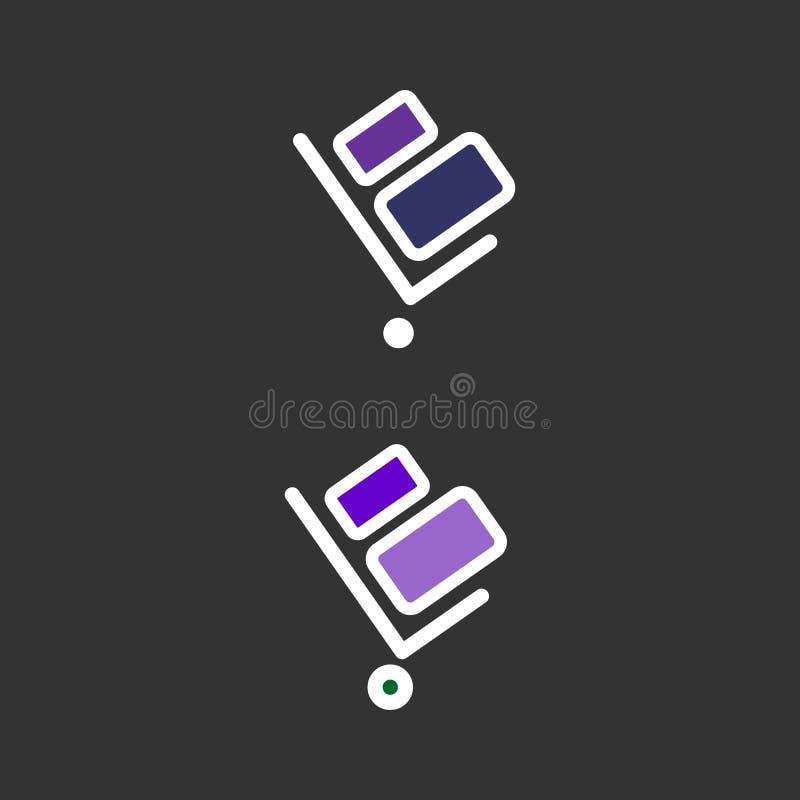Stootkar vectorpictogram Stootkar op zwarte achtergrond wordt geïsoleerd die Leveringspictogram voor websites en mobiel vlak ontw royalty-vrije illustratie