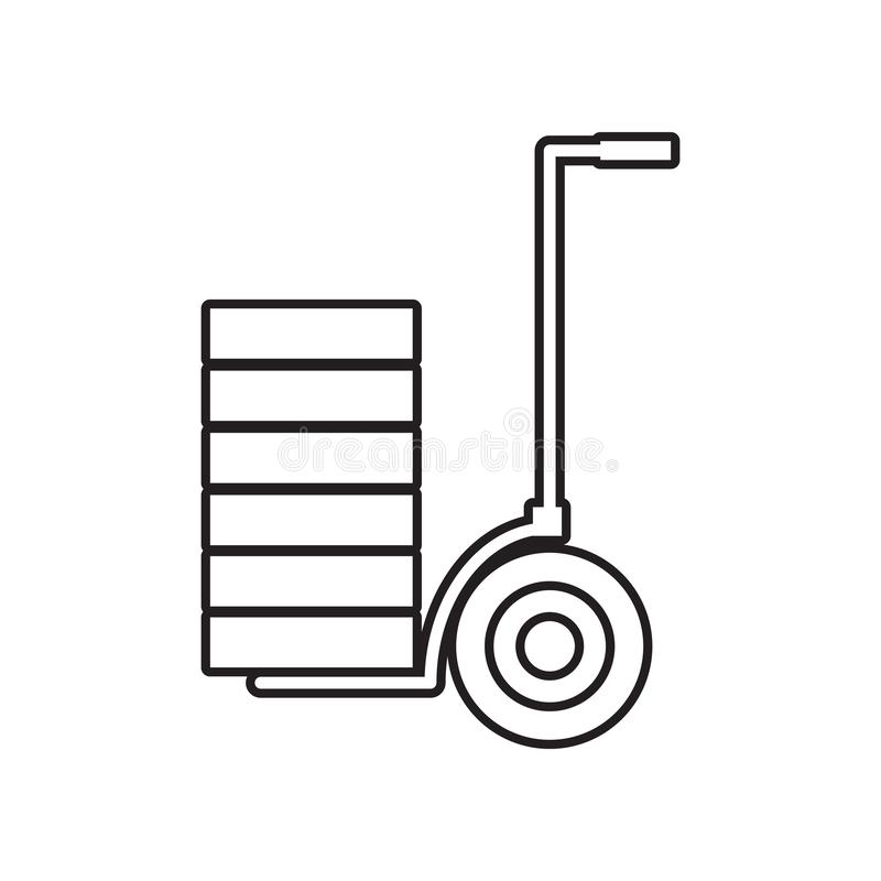 Stootkarpictogram Element van Constraction-hulpmiddelen voor mobiel concept en webtoepassingenpictogram Overzicht, dun lijnpictog vector illustratie