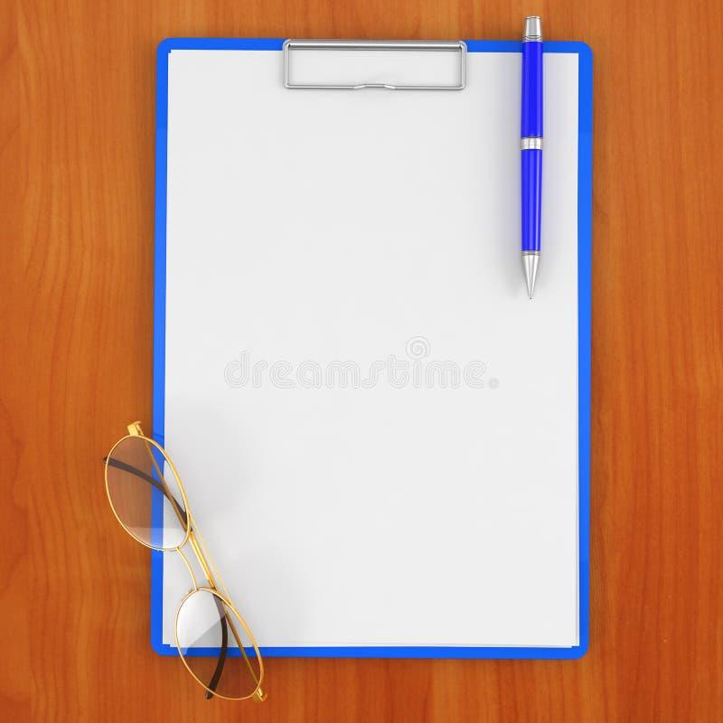 Stootkussen met document, glazen en pen op de lijst stock illustratie