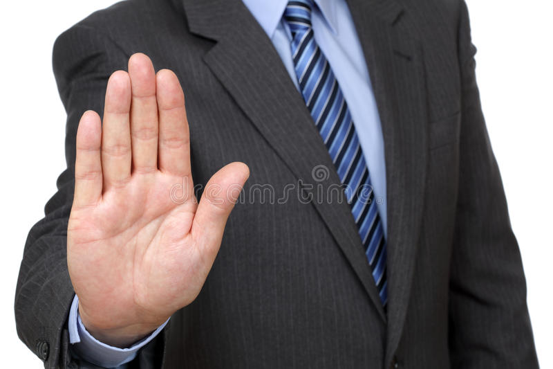 Stop. Gesture from businessman in suit royalty free stock photography