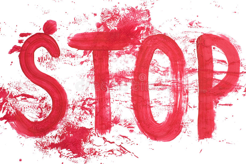 Stop. Sign with splashes on white background stock photo