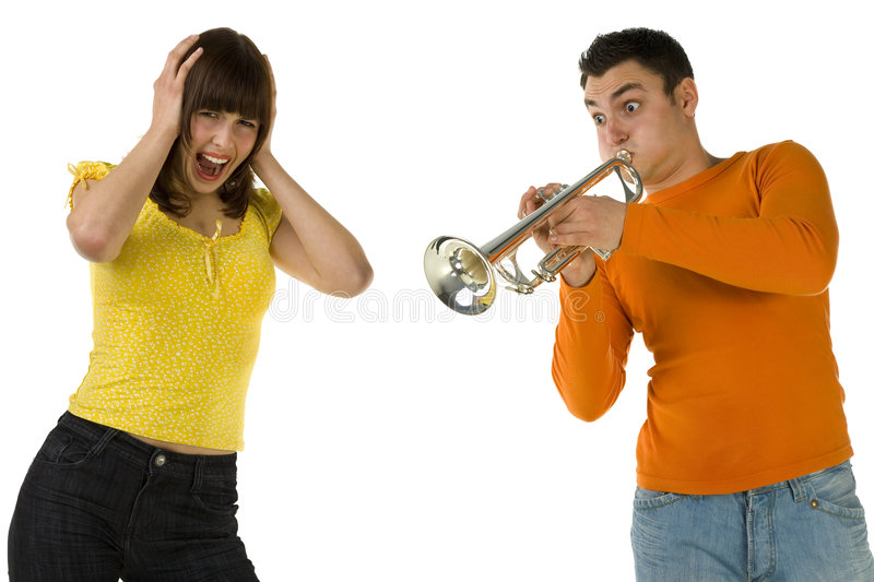 Stop!. The man trumpet something loud and the woman covering ears and screaming. Front view. White background stock photography