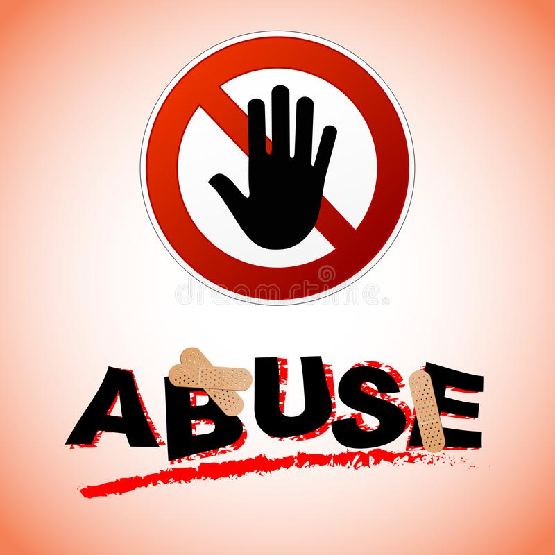 Stop abuse concept. Illustration of stop abuse concept with text vector illustration
