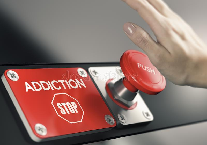 Stop Addiction, Woman Decision Making. Woman hnd about to press a panic button to stop addiction. Addict`s decision making concept stock photo