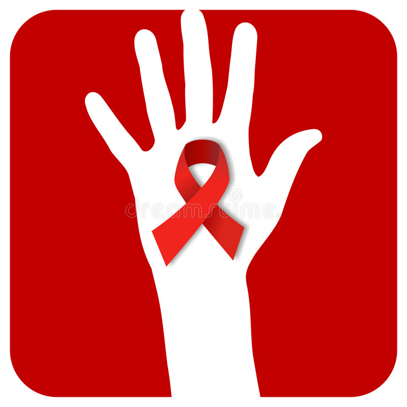 Stop AIDS hand. Hand with a AIDS symbol over a red rounded square stock illustration