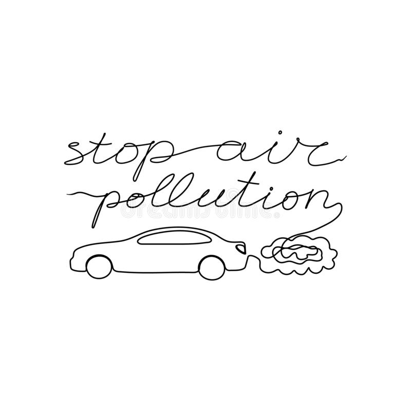 Stop air pollution one line lettering on white background with car sign vector illustration