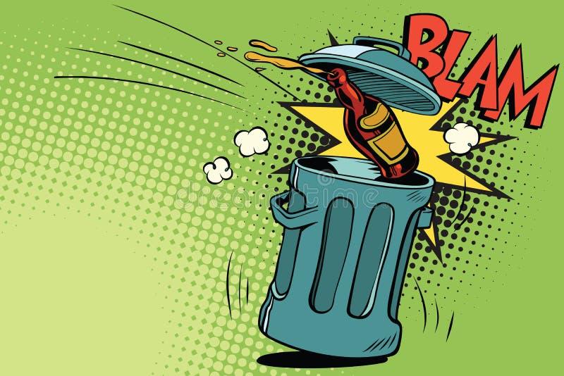 Stop alcohol, beer bottle flies into the garbage. Cartoon comic illustration pop art retro style vector stock illustration