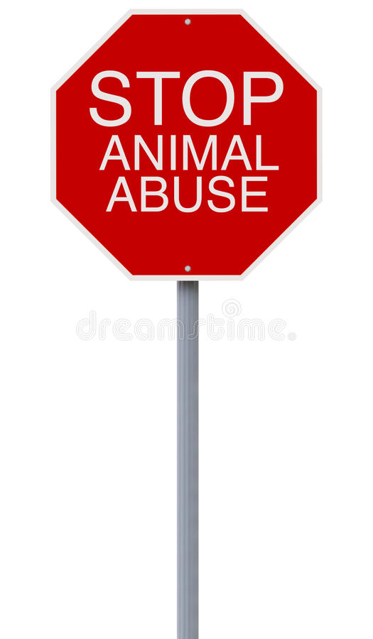Stop Animal Abuse. A conceptual stop sign on Cruelty to Animals stock photography
